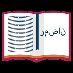 Libro de oraciones del Corán texto marcador plana