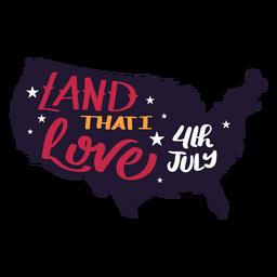 Etiqueta engomada de la estrella del mapa del país del 4 de julio