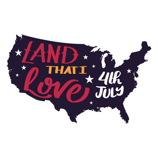 Land that i love 4th july country map star sticker Transparent PNG