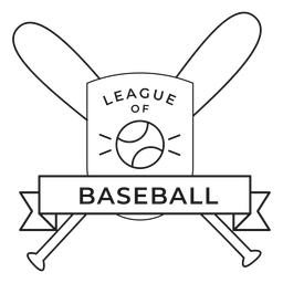 Ligue of baseball bat ball badge stroke