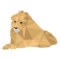 Lion king lying roar mane low poly