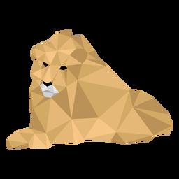Rey león acostado rugido melena baja poli