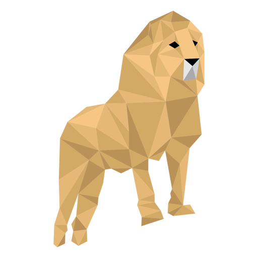 Lion king roar mane leg low poly Transparent PNG