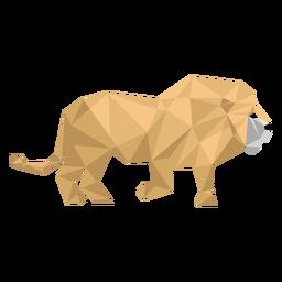 Rey león rugido melena cola baja poli