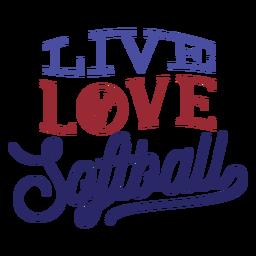 Etiqueta engomada viva de la insignia de la puntada de la bola del softball del amor