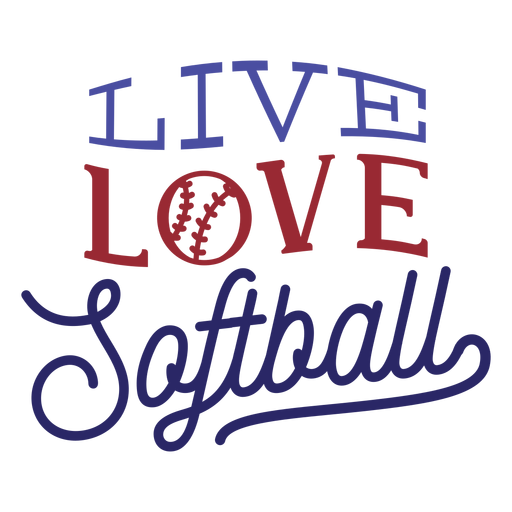 Live love softball ball stitch badge sticker Transparent PNG