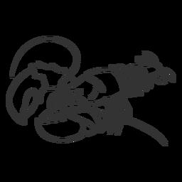 Doodle de cauda de garra de antena de lagosta