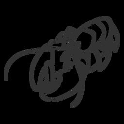 Doodle de garra de cauda de antena de lagosta