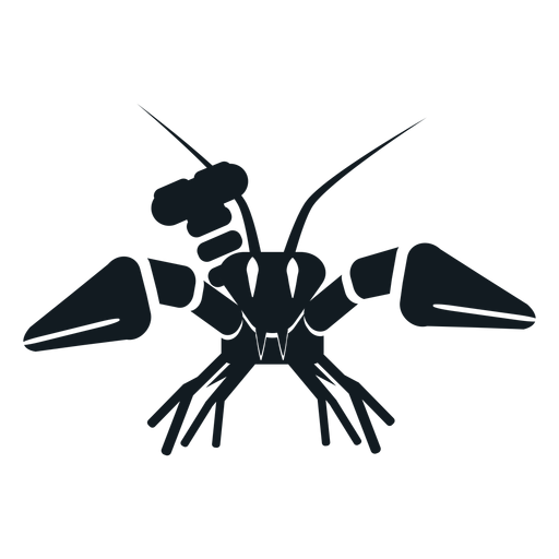 Lobster claw antenna tail whisker detailed silhouette Transparent PNG