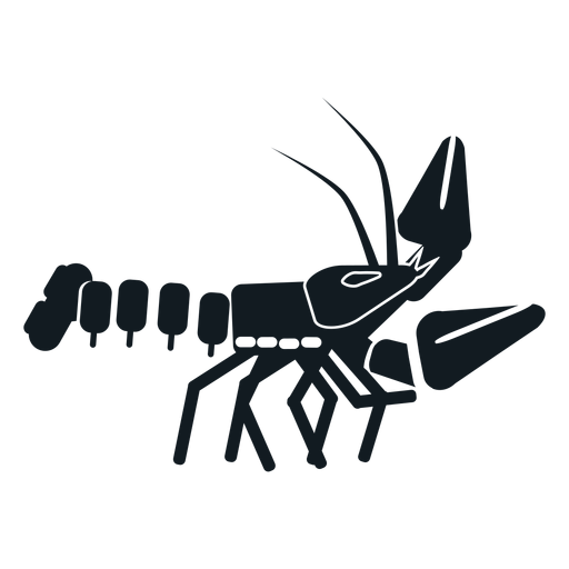 Lobster claw tail antenna whisker detailed silhouette Transparent PNG