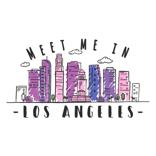Los angeles skyline sticker Transparent PNG