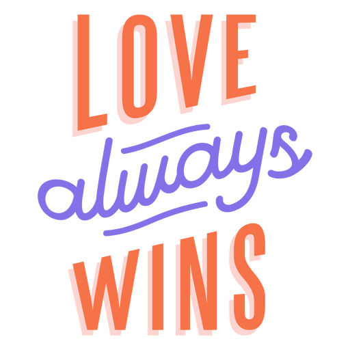 Love always wins stripe sticker Transparent PNG