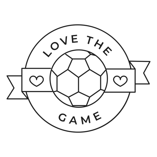 Love the game ball heart badge stroke Transparent PNG