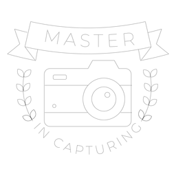 Master in capturing camera lens objective branch badge line