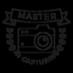 Mestre em capturar a linha do crachá do objetivo da lente da câmera