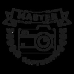 Maestro en la captura de trazo de insignia de rama de objetivo de lente de cámara