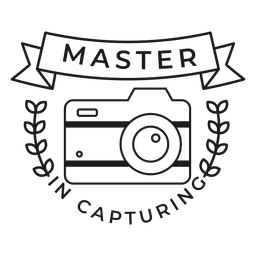 Master in capturing camera lens objective branch badge stroke