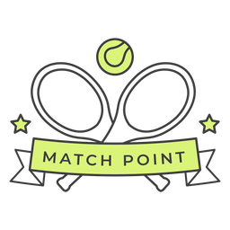 Match point racket ball star colored badge sticker