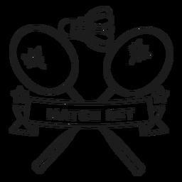 Trazo de distintivo de rama de raqueta de volante