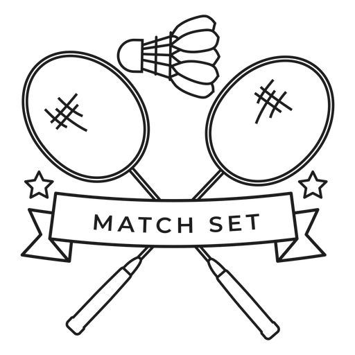 Match set shuttlecock racket branch badge stroke Transparent PNG