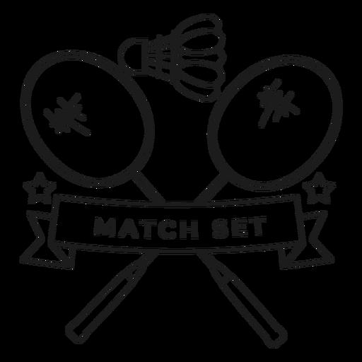 Partido conjunto volante raqueta rama insignia trazo