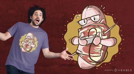 Diseño de la camiseta de la salchicha de tocino del empollón