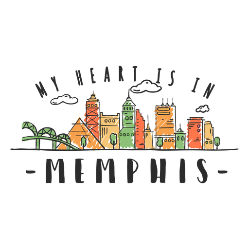 Memphis skyline sticker Transparent PNG