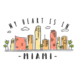 Miami skyline sticker