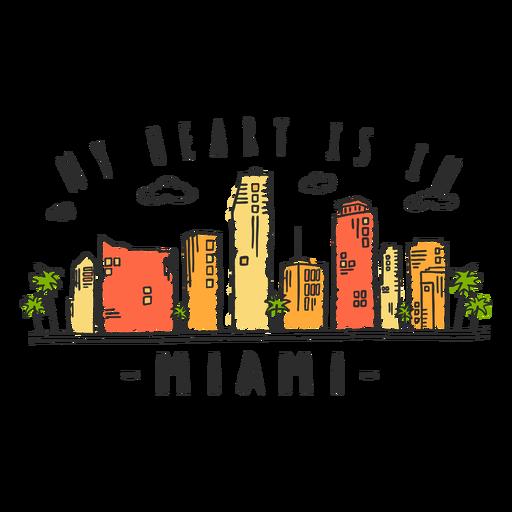 Miami skyline sticker Transparent PNG
