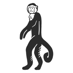 Monkey muzzle tail leg doodle