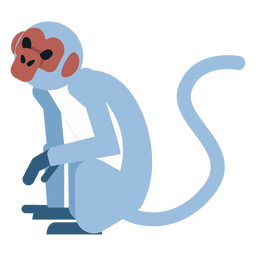 Monkey muzzle tail sitting leg rounded flat