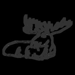 Garabato de alce pezuñas boca cuerno doodle