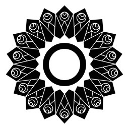 Mosaico círculo flor pétalo detallado silueta