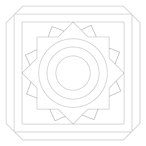 Mosaico círculo flor cuadrada línea de marco Transparent PNG
