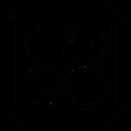 Linha de moldura quadrada rhomb de círculo de mosaico