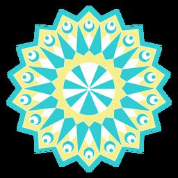 Silhueta detalhada da figura do girassol do círculo do mosaico