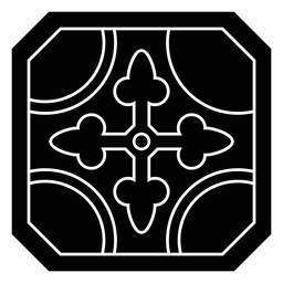 Silhueta detalhada da seta do círculo do quadro do mosaico