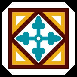 Mosaico marco círculo flecha rombo plano