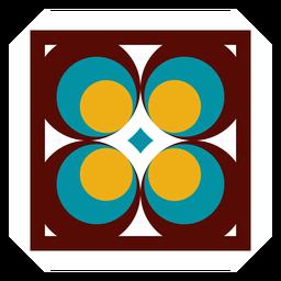 Mosaico marco círculo rombo plano