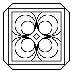 Mosaic frame circle rhomb stroke