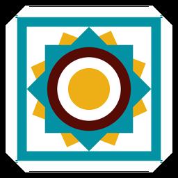 Marco de mosaico círculo cuadrado plano