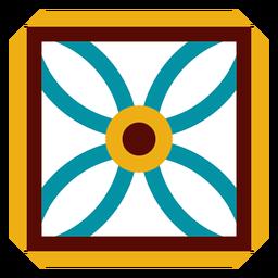 Mosaico marco flor cuadrado pétalo plano