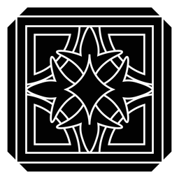 Silhueta detalhada da flor quadrada da pétala do mosaico