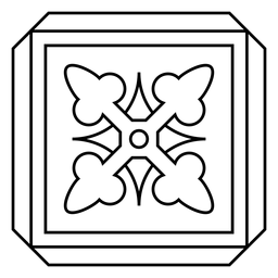 Mosaico marco cuadrado flecha trazo