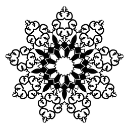 Silhueta detalhada da flor da pétala do mosaico