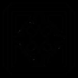 Mosaico pétalo flor cuadrado línea marco