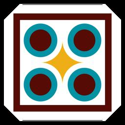 Mosaico rhomb frame círculo quadrado plana
