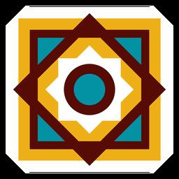 Mosaico rombo marco círculo cuadrado flor plana