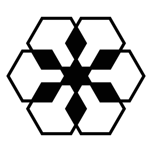 Mosaic rhomb hexahedron detailed silhouette Transparent PNG