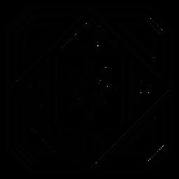 Linha de quadro de pétala de flor de círculo quadrado de mosaico